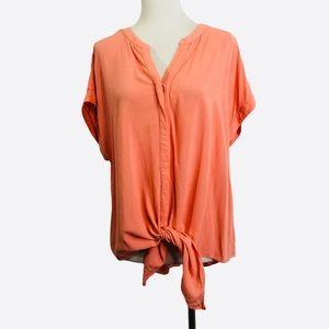 Chicos Orange Front Tie Short Sleeve Shirt Top